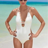 Deep V Halter Beach One Piece Swimsuit Swimwear