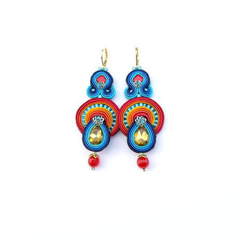 Long Dangle Earrings - Colorful Handmade Earrings with Crystals , Soutache Earrings , Long Earrings , Handmade , Soutache Jewelry