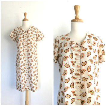 Vintage Paisley Dress - 60s dress - shift dress - sheath - cotton dress - Giselle - sundress - M L