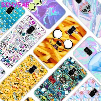 BINYEAE Boss Bitch mode on pink please Emoji art Style Clear Soft TPU Phone Cases Cover for Samsung A5 A3 A7 A8 2017 2016 2018