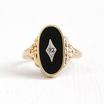Vintage Art Deco 10k Rosy Gold Black Onyx & Genuine Diamond Flower Ring - 1930s Size 8 Oval Black Gem Statement Floral Esemco Fine Jewelry