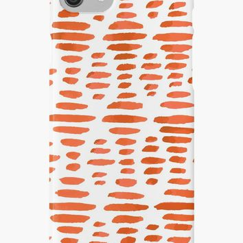'Geometric Red Brush Strokes Pattern' iPhone Case/Skin by Foxeye Daisy
