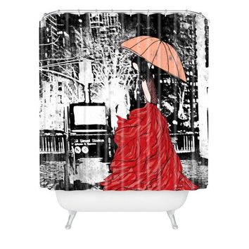 Going Home fashion illustration shower curtain