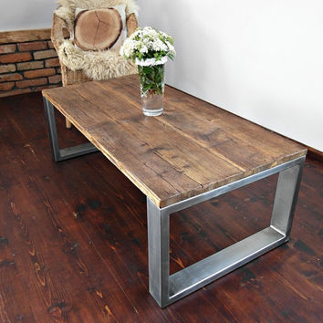 Handmade Rustic Reclaimed Wood & Steel Industrial Bench Table