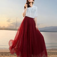 New Fashion Women Maxi Long Skirt Boho Chiffon Beach Wear Holiday Faldas Largas Girl High Waist Dance Skirt 17 Colors DR759