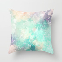 Colorful Marble Texture Throw Pillow by Smyrna