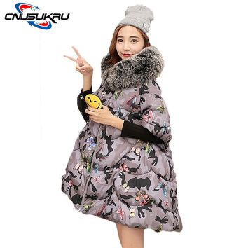 New Fashion 2017 Winter Outwear Womens Cape Cloak Coat And Parka Printed Hooded Loose Sleeveless Bat Sleeved Jacket Large Size