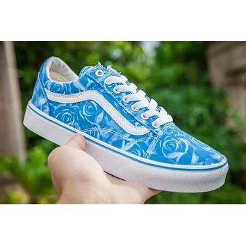 Limited Edition Of Vans Blue Rose Print Women Sneaker Casual Shoes