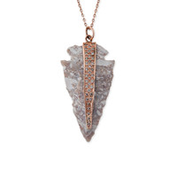 PAVE GREY AGATE ARROWHEAD NECKLACE