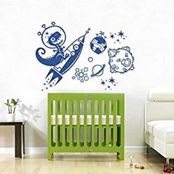 Wall Decal Vinyl Sticker Decals Art Decor Design Rocket Planets World Space Dinosaur Stars Kids Children Gift Nursery Beedroom (r702)