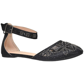 Womens Ballet Flats Ankle Strap Rhinestone Studs Jewel Flat Shoes Black