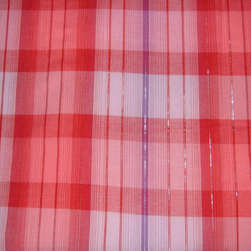 Retro Red Plaid Fabric with Purple Stripe & Silver Metallic Threads - BY THE YARD