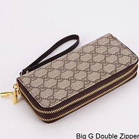 GUCCI Double G Wallet Wallet Multi Card Mobile Phone Bag Big G Double Zipper