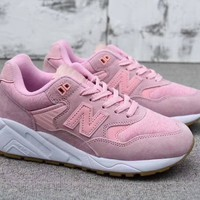 """""""New Balance 580"""" Women All-match Fashion Sport Casual N Words Sneakers Goddess Pink Running Shoes"""