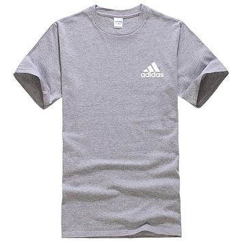 Adidas Summer New Fashion Bust Side Letter Print Leisure Women Men Top T-Shirt Gray