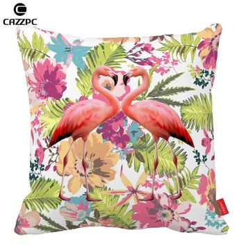 Watercolor Tropical floral flamingos Decorative Throw Pillowcase