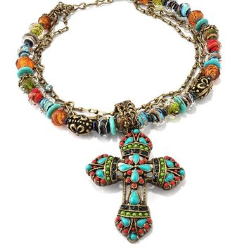 Large Mayan Cross Pendant Navajo Western Bead Necklace - Inspirational Religious Jewelry
