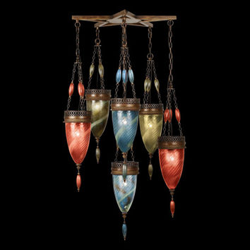 Fine Art Lamps 718340-7ST Scheherazade Six-Light Pendant in Aged Dark Bronze Finish and Hand Blown Glass in Vibrant Oasis Green, Desert Sky Blue and Sunset Red Colors