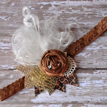 Cocoa Lush shabby chic headband- Perfect fall accessory