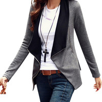 Zipper Slim Casual Long Sleeve Jacket