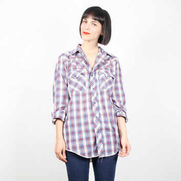Vintage Western Shirt Plaid Shirt Cowboy Shirt Cowgirl Shirt Pearl Snap Button Rockabilly Shirt Embroidered Hipster Top 1970s 70s L Large
