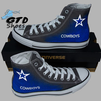 Hand Painted Converse Hi. Dallas Cowboys. Football. Superbowl. Charcoal grey. Handpainted Shoes