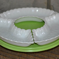 Hand Painted Wooden Lazy Susan, Chartreuse / Green