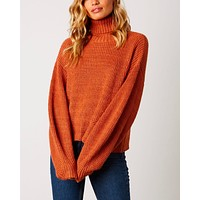 boxy turtle neck dropped shoulder sweater with balloon sleeves - rust