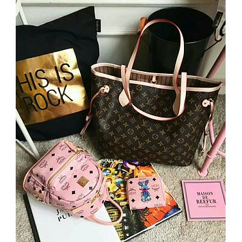 Louis Vuitton & MCM Popular Women Shopping Bag Backpack Leather Tote Handbag Shoulder Bag Purse Wallet Set Three Piece I-AGG-CZDL