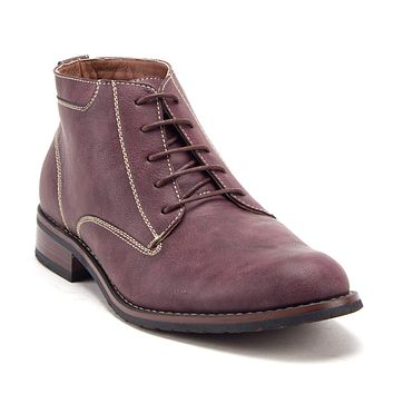 Jazamé Men's 917131 Distressed Round Toe Lace Up Ankle High Chukka Dress Boots