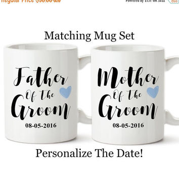 Mother Of The Groom, Father Of The Groom, Personalized Date, Parents Of The Groom, Blue Heart, Gifts, Set Of Matching Mugs, Coffee Cup