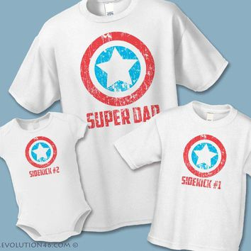 Superhero Shirts Super Dad Shirt Superhero's Sidekick infant bodysuit Matching Father Son Shirts Mommy Me Tee Father's Day Gift New Dad Gift