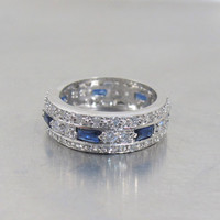 Sterling Sapphire CZ Eternity Band Ring, Channel Set Princess Cut Stones, Size 7
