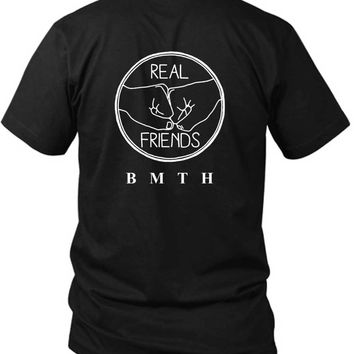 Bring Me The Horizon Real Friends 2 Sided Black Mens T Shirt