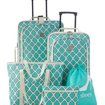 New Directions® 5-Piece Turquoise Trellis Luggage Set - Belk