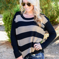 MEANT TO LAST SWEATER IN BLACK/TAN