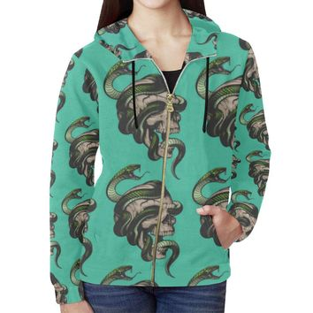 Skull & Snakes Design 1 Women's All Over Print Full Zip Hoodie