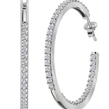 14kt White Gold Womens Round Diamond Inside Outside Hoop Earrings 2.00 Cttw