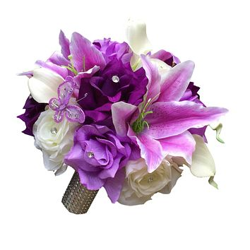 Bridal Bouquet -Lavender, Lilac, and Purple Rose, Stargazer Lily, and Calla Lily Artificial Bouquet