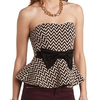 CHEVRON BOW-FRONT STRAPLESS PEPLUM TOP