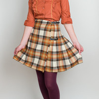 Plaid Wrap Mini Wool Skirt - Vintage Scottish Kilt with Leather Buckles - S