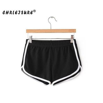 Shorts With High Waist Cotton Solid Stitching White stripes Soft Shorts