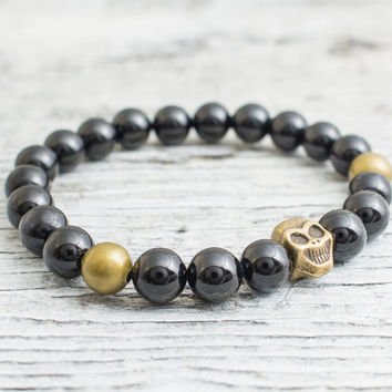 Black onyx beaded stretchy bronze skull bracelet, custom made yoga bracelet, mens bracelet, womens bracelet