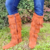5 Layer Fringe Boots Brown
