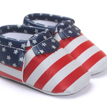 4th of July-Red/White/Blue Soft Sole Tassel Baby, Toddler Moccasins