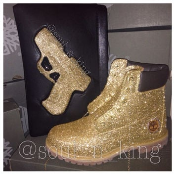 Champagne  GOLD glitter timberlands