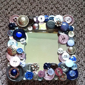 handmade recycled button mosaic mirror, vintage and hand dyed button art