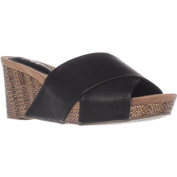 SC35 Jillee Slide Wedge Sandals, Black, 8.5 US