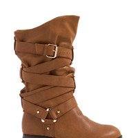 Straparound Studded Slouchy Boots