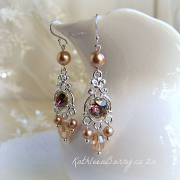 R465 - Rose gold and plum purple - Swarovski Crystal and Pearl Chandelier earrings